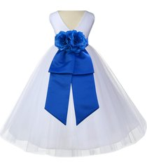 (updated) white v-neck flower girl dress tulle pageant wedding bridesmaid 108a