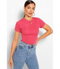 geribbeld getailleerd t-shirt met kapmouwen, rose