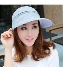 gran ancho de la mujer floppy summer beach sun hat cap cremallera sombrero