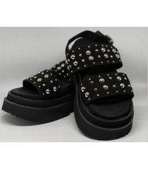 sandalia de cuero gamuza negra tali