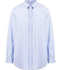 comme des garçons shirt horizontal-stripe patch pocket shirt - blue