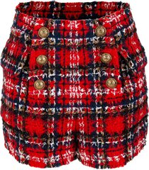 high waisted 6 button tartan tweed shorts