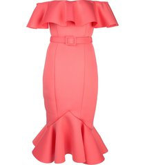 badgley mischka off-shoulder ruffle dress - pink