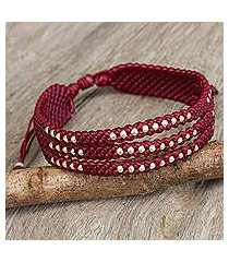 silver accent wristband bracelet, 'starlight and wine' (thailand)