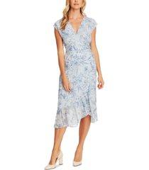 vince camuto botanical breeze floral-print faux-wrap dress