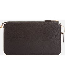 coach women's polished pebble leather wallet/cross body bag - black