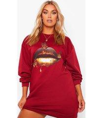 plus oversized sweatshirt jurk met gouden lippen, berry