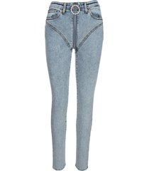 alessandra rich blue crystal-embellished skinny jeans