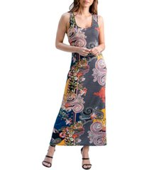 women's paisley print fitted racerback maxi dress