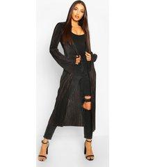 plisse flared sleeve long line kimono, black