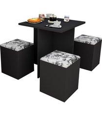 conjunto p/ sala de jantar mesa e 4 banquetas preto e damasco appunto - preto - dafiti
