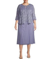 plus 2-piece lace tea-length dress & jacket set