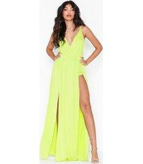 nly one double slit maxi dress festklänningar lime