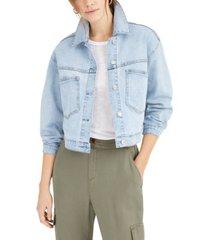 oat cropped denim jacket