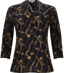 blusa mujer manga 3/4 cadenas color negro, talla l