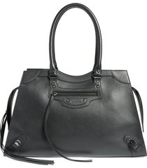balenciaga neo classic city leather weekend tote - black