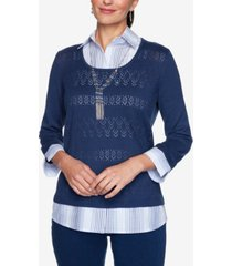 women's missy denim friendly two for one with ombre stripe woven trim sweater