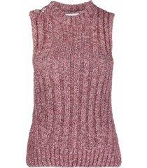 ganni metallic knit ribbed vest top