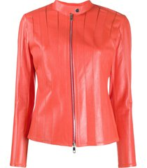desa 1972 stitched panel leather jacket - orange