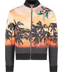 palm tree print bomber jacket