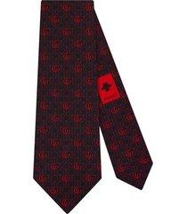 gucci gravata de seda com padronagem double g horsebit - azul