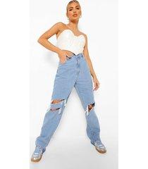 boyfriend jeans met versleten knieën, light blue