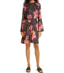 women's judith & charles fae floral print tie waist dress, size 10 - black
