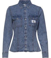 archive lean shirt långärmad skjorta blå calvin klein jeans