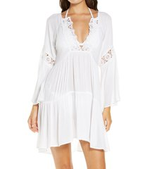 women's o'neill saltwater solids long sleeve cover-up tunic dress, size x-small - white
