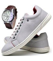 tênis sapatênis casual glamour com relógio dubuy 940od cinza