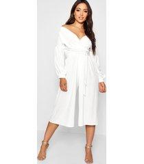 off the shoulder culotte jumpsuit, white
