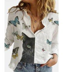 camicetta con colletto rovesciato a maniche lunghe stampata a farfalla di gatto dei cartoni animati per donna