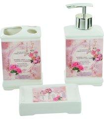 kit carisma banheiro com 3 peças - saboneteira liquida + saboneteira + porta escova - retro - porcelana
