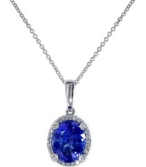 effy tanzanite (2-5/8 ct. t.w.) and diamond (1/8 ct. t.w.) pendant necklace in 14k white gold, created for macy's