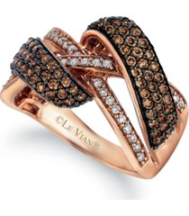 le vian chocolatier chocolate diamond (1 ct. t.w.) & vanilla diamond (1/5 ct. t.w.) crossover ring in 14k rose gold