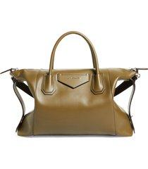 givenchy medium antigona leather satchel in dark khaki at nordstrom
