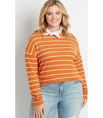 maurices plus size womens orange stripe straight hem pullover