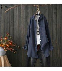zanzea botones de manga larga para mujer camisa casual lisa tops blusa con cuello vuelto -azul marino