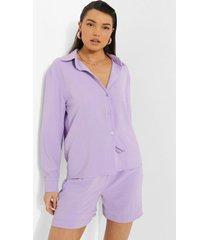oversized overhemd en shorts set met textuur, lilac
