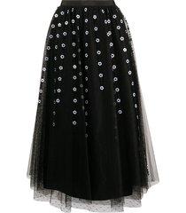 red valentino floral bead tulle midi skirt - black