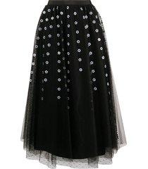 redvalentino floral bead tulle midi skirt - black