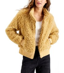 say what? juniors' faux-sherpa zip-up jacket