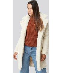 trendyol faux fur long coat - white