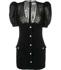 alessandra rich lace-panelled mini dress - black