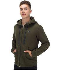 jaqueta de moletom com capuz fila totti inverno - masculina - verde escuro