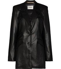 nanushka cancun vegan leather blazer - black