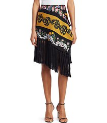 floral asymmetric fringed scarf skirt