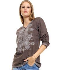 blusa marrón spiga 31 bordada