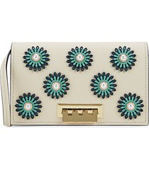 faux-pearl & floral embellished leather crossbody bag