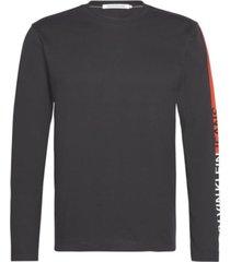 camiseta de manga larga de algodón orgánico negro calvin klein
